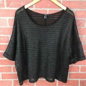 H&M Oversized Metallic Black Knit Top